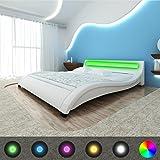 vidaXL Kunstlederbett Weiß 140 x 200 cm mit LED-Streifen + Matratze Bezug