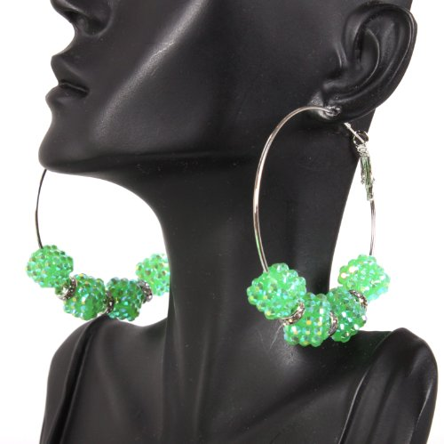Basketball Wives Green 2.5 Inch Hoop Earrings with Four Shamballah Square Shaped Balls and Rondelle Spacers Lady Gaga Paparazzi Mob Wives