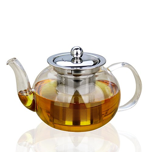 Xenics Glass Teapot with Stainless Steel Infuser and Lid,28oz/800ml Borosilicate Ultralight High Heat Resistance Teapots for Flower Tea and Loose Leaf Tea Pot (800ml) (Tea Pot Induction compare prices)