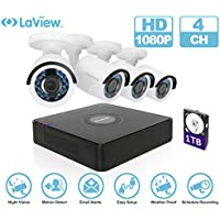 LaView 1080P HD 4 Cameras 4CH Security System DVR with 1TB HDD 2MP Bullet Cam Surveillance Kit