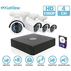 LaView 1080P HD 4 camera security system - 4 Channel Security System DVR with 1TB HDD 2MP Bullet Camera Surveillance Kit