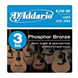 DAddario EJ16-3D Phosphor Bronze Acoustic Guitar Strings, Light, 3 Sets