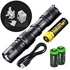 Nitecore MH2C CREE XM-L U2 LED USB Rechargeable 800 Lumen Flashlight and Nitecore... by Nitecore