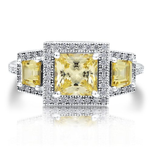 Sterling Silver 925 Princess Cut Canary Cubic Zirconia CZ 3-Stone Ring - Nickel Free Engagement Wedding Ring Size 5
