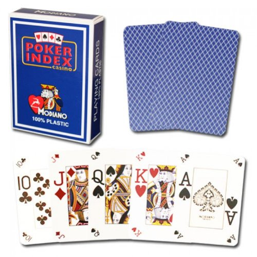Modiano Italian Poker Game Playing Cards - Blue Poker Index - Single Card Deck - 100% Plastic Made in Italy
