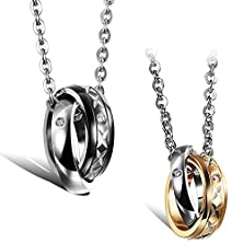 buy Flongo His And Hers Couples Dual Ring Pendant Necklace Set Stainless Steel Mens Womens Engagement Wedding Gift