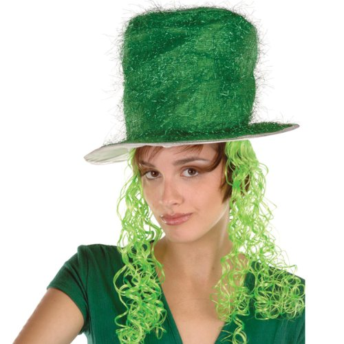 Beistle 30704-G Tinsel Top Party Hat with Curly Wig, Green - 1