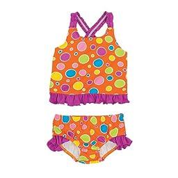 Orange Dots Girls Swim Tankini Top and Bottom 12 Mos.