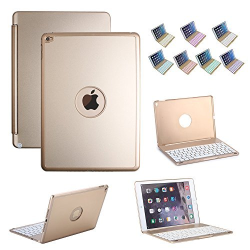 iPad Air 2 Keyboard Case, iEGrow Slim Bluetooth Clamshell Protective Case with Keyboard and 135 Degree Rotation and 7 Colors LED Backlight (Gold)