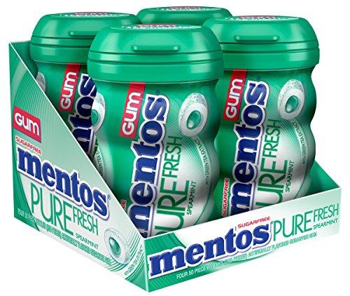 Mentos Gum Big Bottle Curvy, Pure Fresh Spearmint, 50 Pieces (Pack Of 4)
