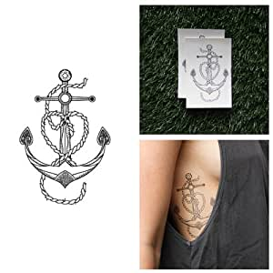 Vintage anchor heart temporary tattoo set of 2 amazon for Fake tattoos amazon