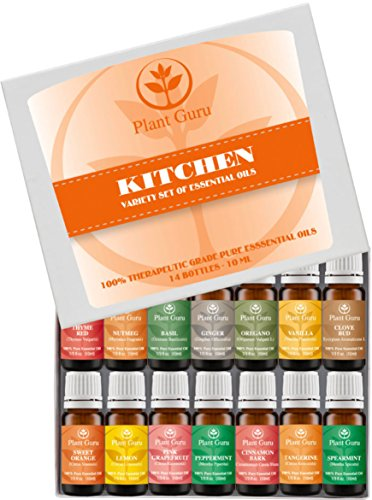 ? Kitchen Set ? Essential Oil Variety Set- 14 Pack - 100% Pure Therapeutic Grade 10ml. Set includes ? Ginger, Oregano, Basil, Nutmeg, Red Thyme, Vanilla, Clove Bud, Sweet Orange, Lemon, Tangerine, Pink Grapefruit, Peppermint, Spearmint, Cinnamon Bark ?