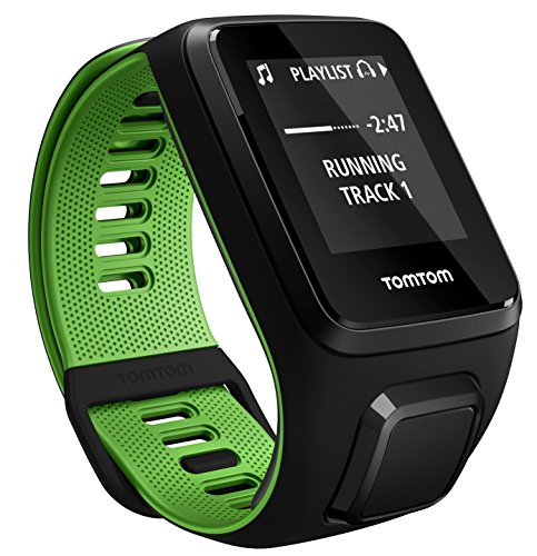 TomTom - RUNNER 3 Cardio + Music + Casque BT - Montre de Sport GPS - Bracelet Large Noir/Vert (ref 1RKM.001.10)