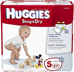 Huggies Couches Snug & Dry Ultra Trim - Plus minces et coupe plus ajustée - Absorption maximale - Pack de taille jumbo - Taille 5 - 27 couches/paquet (4 paquets)
