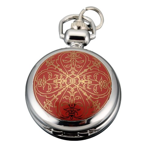 AMPM24 Women Lady Red Flower Round Dangle Pendant Pocket Quartz Watch + Chain