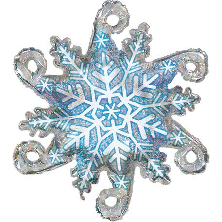 "Sparkly Shiny Blue Linky Snowflake Silver Winter Snow 38"" Balloon Mylar"