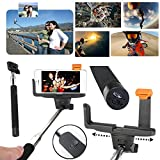 Adjustable Extendable Wireless Bluetooth Monopod Handheld Self Portrait Selfie Stick with Remote Shutter Function for iPhone 6/6 Plus, iPhone 4/4s, iPhone 5/5s/5c, Samsung S3/S4/S5/NOTE3/NOTE4, Blackberry, HTC, Sony, Nokia, LG (Black)