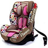 iSafe Isofix DUO TRIO PLUS ISOFIX + TOP TETHER CAR SEAT Carseat Car Seat Group 1 2 3 9kg - 36kg - Flowers