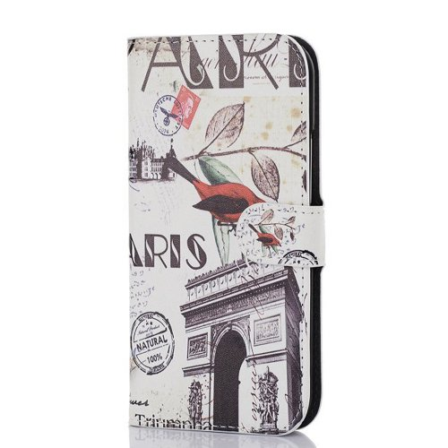 Meaci Htc One M8 Folio Case Fashion/Retro Style Postmark Arch Of Triumph France/France Arc De Triomphe/Victory Gate Pattern With Kickstand Credit Card Holder Id Holder Pu Leather Material Cover Magnetic Buckle (Arch Of Triumph France/France Arc De Triomph