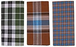Emerald COTTON Mens Cotton Lungis- Pack of 3 (Certified) (Multi-Coloured)