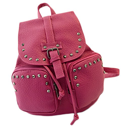 BEIER discount duty free BEIER® Rivet leather Backpack College Casual school bags 2015-Sumeer55 (rose)