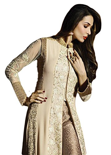 f25cdd1fe0 Justkartit Women's Dashing Semi-Stitched Cream Beige And Golden Colour  Stylish Dress Material With Net