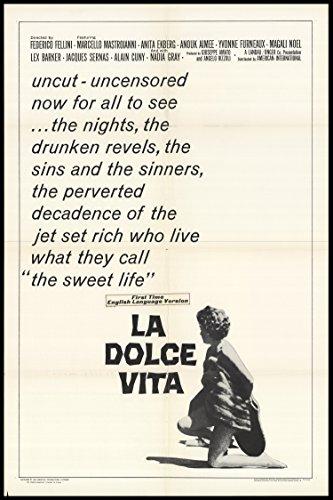 """La Dolce Vita 1966 Original Movie Poster Comedy Drama - Dimensions: 27"""" X 41"""""""