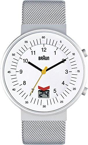 Braun BN0087WHSLMHG - Reloj analógico de cuarzo para hombre con correa de acero inoxidable, color plateado