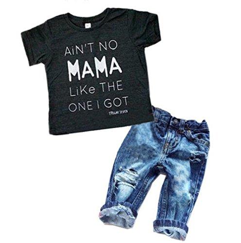 Newborn Baby Boy Clothes T-shirt Top Tee +Denim Pants Outfits Set 18-24 Months)