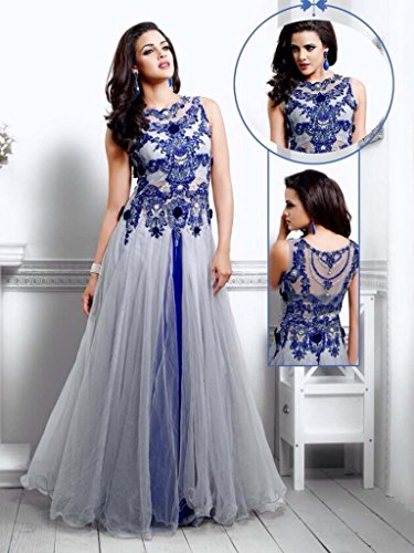 UFS Women s Blue White Soft Net Semi Stitched Anarkali Dress Salwar Suit  Gown Price in India  1c51a0753