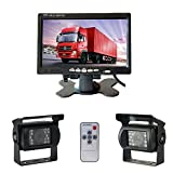 Camecho® RC 12V/24V Vehicle Backup Camera System 2 x Rear View Cameras Support Night Vision Waterpoof & 7