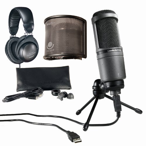 Audio-Technica At2020 Usb+ Plus Usb Microphone With Ath-M20 Headphones Bundle