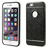 Generic Brushed Aluminium Alloy Metal + Silicone Combo Back Case For IPhone 6 - Black/Black
