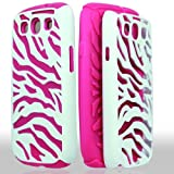White Pink Zebra Dual Flex Hard Hybrid Gel Case Cover For Samsung Galaxy S3 i9300 AT&T, T-Mobile, Sprint, Verizon