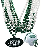 NFL New York Jets Team Medallion, Mini-Helmet and Mardi-Gras Bead Set
