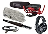 Rode Condenser Shotgun Video Mic with Rycote and Rode DeadCat Wind Sheild Audio Technica M30 Closed Ear Headphones Rode Micro Boompole and Rode 10