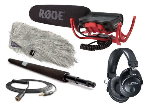 Rode Condenser Shotgun Video Mic With Rycote And Rode Deadcat Wind Sheild, Audio Technica M30 Closed Ear Headphones, Rode Micro Boompole And Rode 10