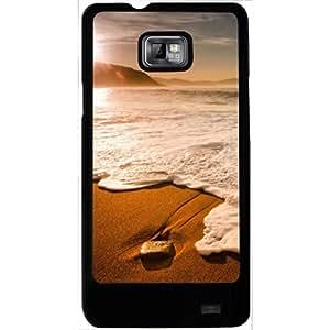 Casotec Sun Set Beach Design 2D Hard Back Case Cover for Samsung Galaxy S2 i9100 - Black