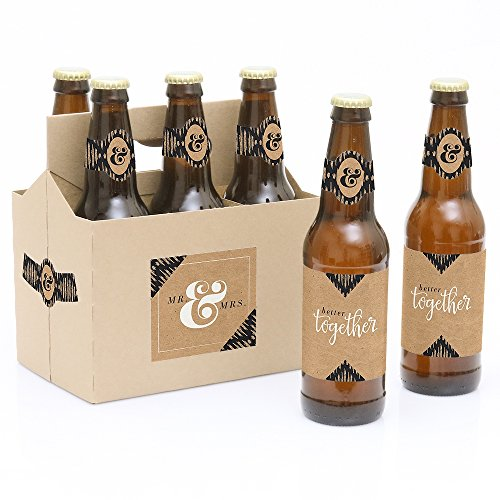 Better Together - 6 Wedding Beer Bottle Labels with 1 Beer Carrier (Beer Wedding compare prices)