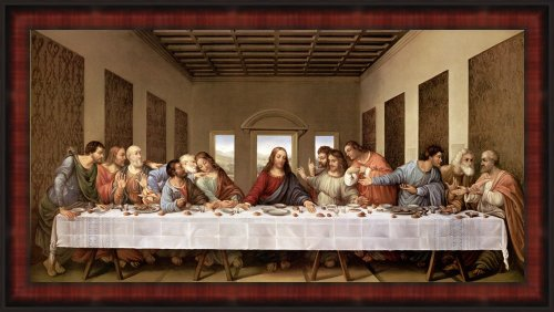 The Last Supper by Leonardo Da Vinci Framed Art Print Wall Picture with Hanging Cleat, 44 x 25 inches