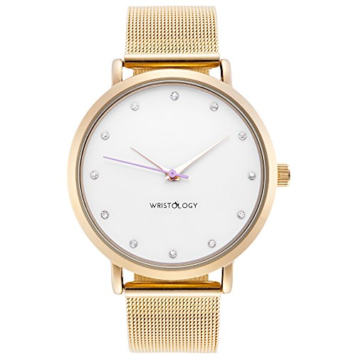 WRISTOLOGY Olivia Womens Crystal Gold Boyfriend Watch Metal Mesh Strap (Gold Watch With Crystals compare prices)