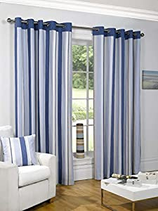 "Striped Cotton Mix Ring Top Lined Blue Cream 46"" X 72"" Thick Curtains *wotsdap* from Curtains"