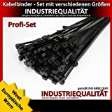 400-Piece Cable Tie Set 200 x 2.5 mm / 200 x 3.6 mm / 290 x 3.6 mm / 360 x 4.8 mm Black European Industrial Quality with 100 Free Natural Colour Cable Ties