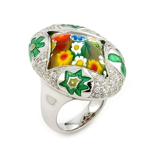 Exquisite Collection Faceted Multicolor Murano Glass Marquise Ring With High Quality Cz Microsetting, Size 7