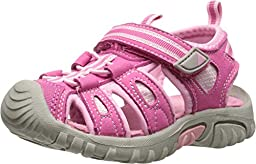 Jumping Jacks Sand Cruiser Dress Sandal (Toddler/Little Kid), Pink Microsuede/Bubble Gum Pink/Hot Pink Trim, 25 EU (8 M US Toddler)