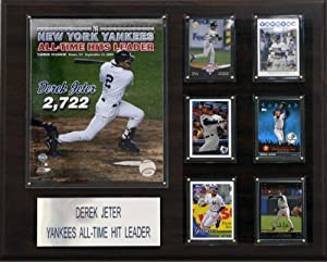 MLB 16 x 20 in. Derek Jeter All Time Yankee Hit Leader New York Yankees Player Plaque by C&I Collectables
