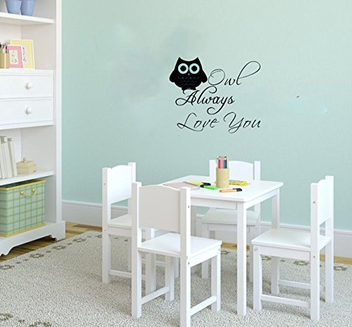 Owl Always Love You Wall Art Quote For Nursery Kid'S Room Owl Decor Decal Vinyl Letters Multiple-Color Available Baby Boys Girl'S Wall Saying Decor Mural (Black) front-358020