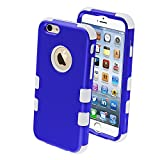 Product B00KA8JLCU - Product title MYBAT Rubberized Tuff Hybrid Protector Case for iPhone 6 - Retail Packaging - Dark Blue/Solid White