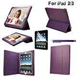 eLifeStore� Purple iPad 4 / iPad 3 Leather Case Smart Cover with Tri-Fold Stand for New Apple iPad 4 4th Generation & iPad 3, Also fit for iPad 2, Built-in Folding Cover Flip-Stand with Auto Sleep/Wake Function. Now Includes FREE BONUS GIFT: Screen Protector + Touchsreen Stylus Pen (Purple)by eLifeStore