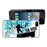 Apple iPhone 4 4S 4G Black 4B435 Hard Back Case Cover Color Go Ride Grunge Blue Snowboard Design